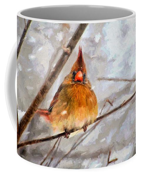 Bird Coffee Mug featuring the digital art Snow Surprise - Painterly by Lois Bryan