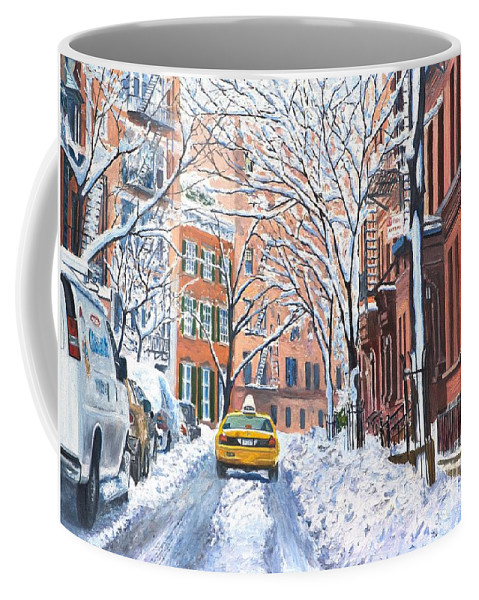 Snow Coffee Mug featuring the painting Snow West Village New York City by Anthony Butera