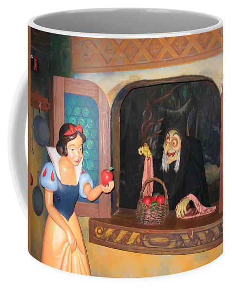Snow White Coffee Mug featuring the photograph Snow White With Apple by Zina Stromberg