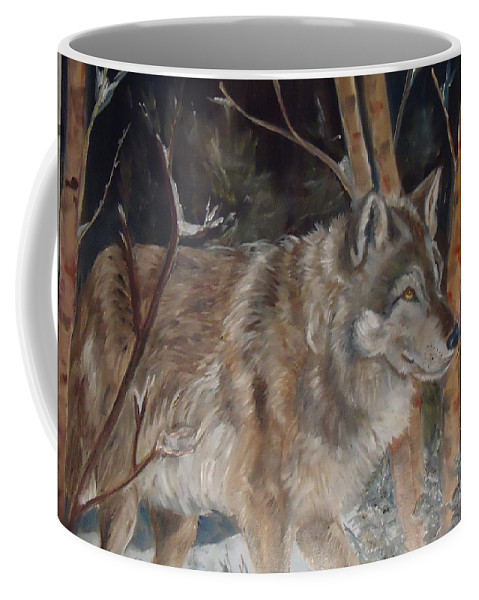 A Wolf In Snow Surrounded By Trees. Browns Coffee Mug featuring the painting Snow Wolf by Charme Curtin