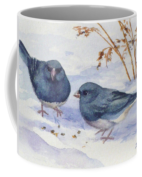 Birds Coffee Mug featuring the painting Snowbirds by Janet Zeh