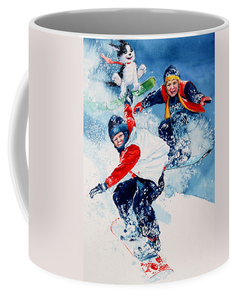 Kids Room Coffee Mug featuring the painting Snowboard Super Heroes by Hanne Lore Koehler