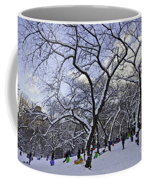 Snowboards Coffee Mug featuring the photograph Snowboarders In Central Park by Madeline Ellis