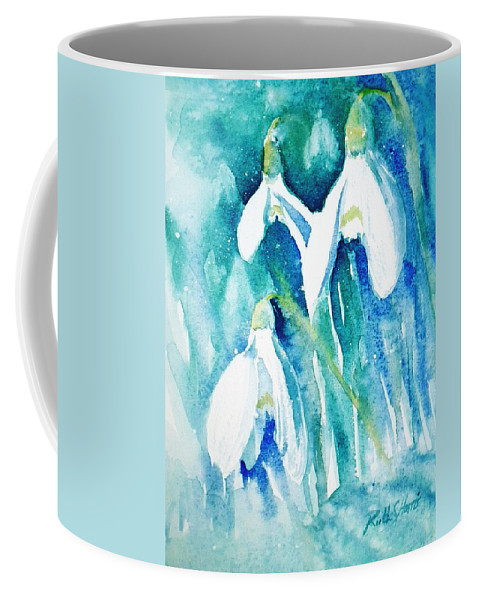 White Coffee Mug featuring the painting Snowdrops by Ruth Harris