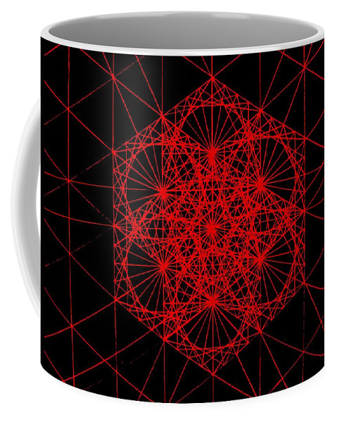 Koch.snowflake Coffee Mug featuring the drawing Snowflake Shape Comes From Frequency And Mass by Jason Padgett