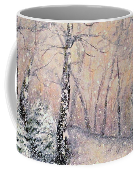 Snow Landscape Coffee Mug featuring the painting Snowflakes by Natalie Holland