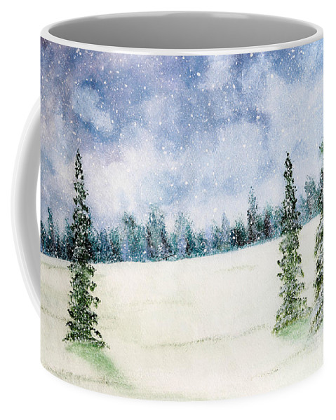 Christmas Coffee Mug featuring the painting Snowing In Christmas by Nirdesha Munasinghe