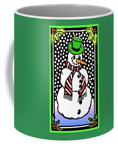 Card Coffee Mug featuring the mixed media Snowman by Nancy Griswold