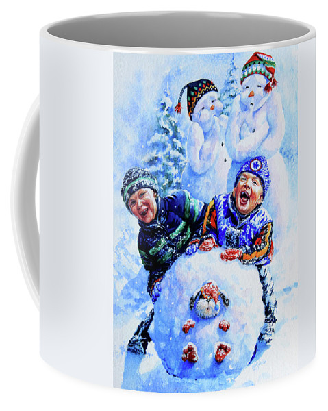 Snowman Print Coffee Mug featuring the painting Snowmen by Hanne Lore Koehler