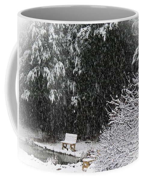 Snow Coffee Mug featuring the photograph Snowy Bench by MTBobbins Photography
