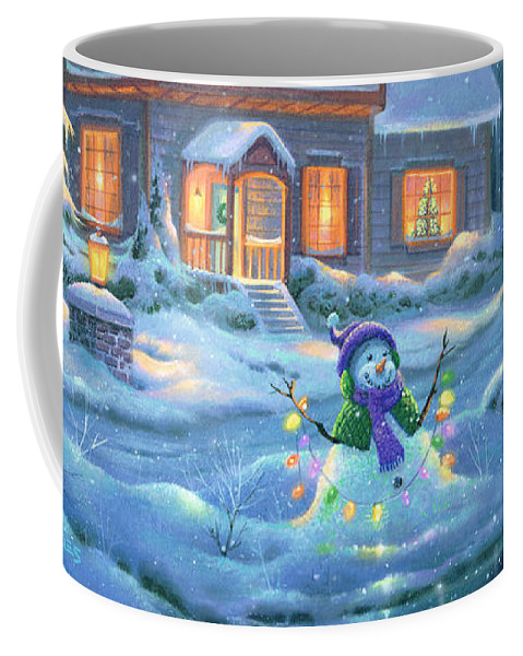 Michael Humphries Coffee Mug featuring the painting Snowy Bright Night by Michael Humphries