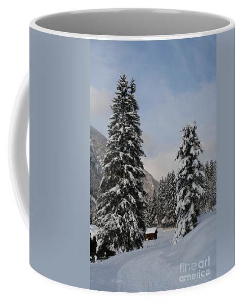 Snow Coffee Mug featuring the photograph Snowy Fir Trees by Christiane Schulze Art And Photography