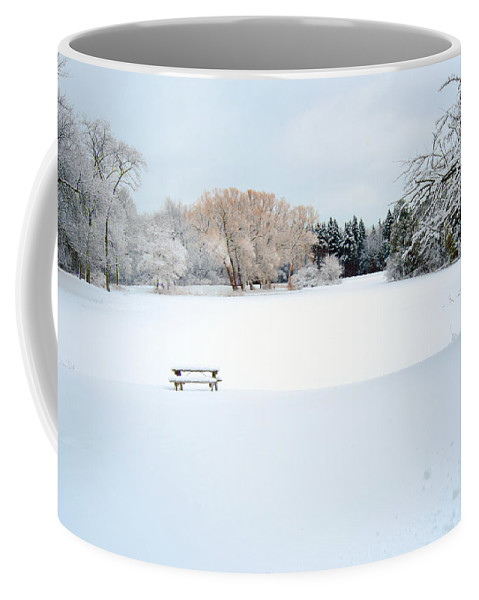 Snow Coffee Mug featuring the photograph Snowy Lagoon by Susan McMenamin