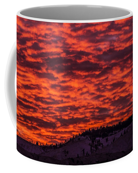 Snow Coffee Mug featuring the photograph Snowy Mountain Sunset by Andrea Goodrich