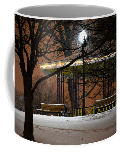 The Leone Riverside Park Pavilion In South Baltimore Coffee Mug featuring the photograph Snowy Night In Leone Riverside Park by Bill Swartwout Fine Art Photography