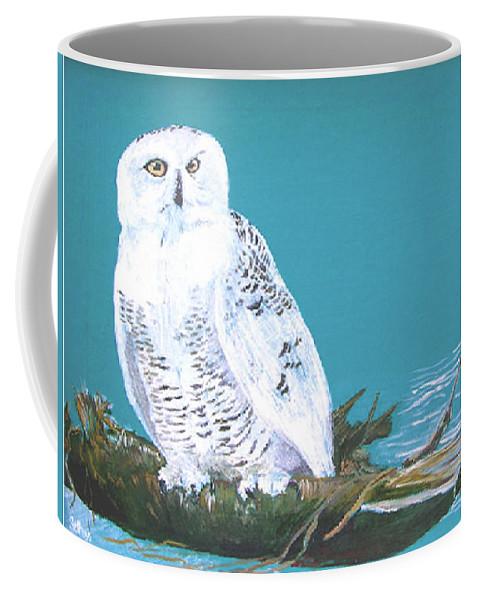 Snowy Owl Coffee Mug featuring the painting Snowy Owl by Seth Weaver