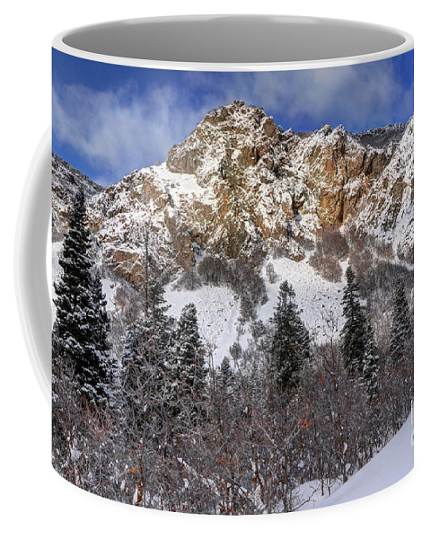 Wasatch Mountains Coffee Mug featuring the photograph Snowy Ridge Above Bell Canyon - Wasatch Mountains - Utah by Gary Whitton