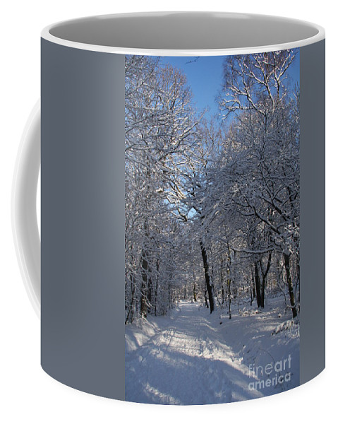 Forest Coffee Mug featuring the photograph Snowy Trail by Christiane Schulze Art And Photography