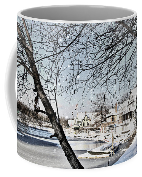 Boathouse Row Coffee Mug featuring the photograph Snowy View Of Boathouserow by Alice Gipson