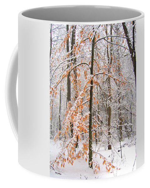 Winter Coffee Mug featuring the photograph Snowy Woods by Ann Horn