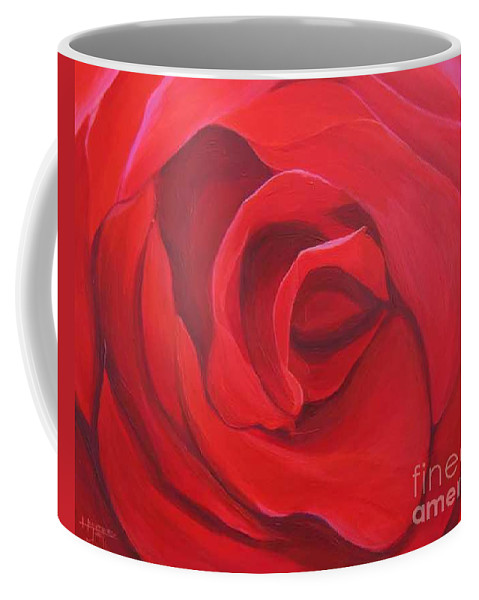 Rose In The Italian Countryside Coffee Mug featuring the painting So Red The Rose by Hunter Jay