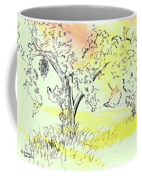 Watercolor Coffee Mug featuring the painting Soaking up the Sunset by Andrew Gillette