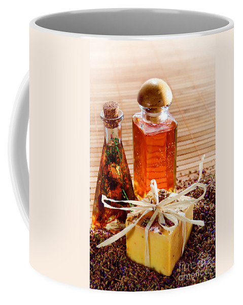 Aromatherapy Coffee Mug featuring the photograph Soap And Fragrance Oils by Olivier Le Queinec