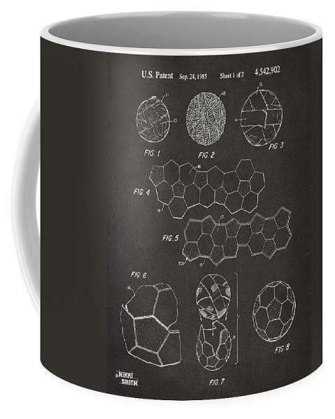 Soccer Coffee Mug featuring the digital art Soccer Ball Construction Artwork - Gray by Nikki Marie Smith