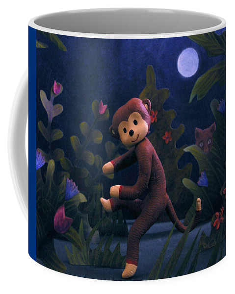 Sock Monkey Coffee Mug featuring the mixed media Sock Monkey In The Wild by Jennifer Montgomery