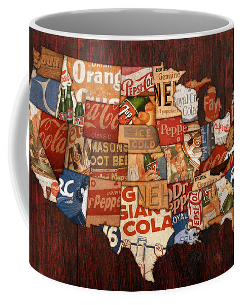 Soda Pop America Wrapper Vintage Pepsi Coke Coca Cola 7up Mountain Dew Root Beer Orange Crush Nehi Dr Pepper Drink Beverage Thirsty Usa Map Country Rc Bottle Can Box History Faygo Drink Ice Cold Carbonated Coffee Mug featuring the mixed media Soda Pop America by Design Turnpike