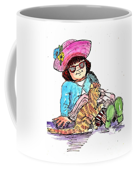 Red Haired Girl Coffee Mug featuring the drawing Sofie And Mittens by Marilyn Smith