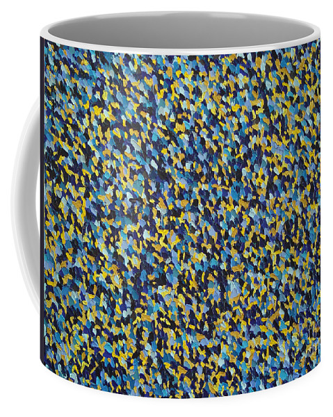Abstract Coffee Mug featuring the painting Soft Blue With Yellow by Dean Triolo