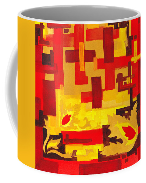 Abstract Coffee Mug featuring the painting Soft Geometrics Abstract In Red And Yellow Impression I by Irina Sztukowski