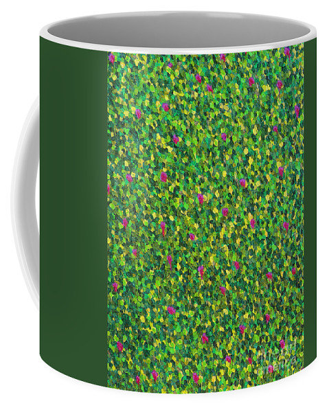 Abstract Coffee Mug featuring the painting Soft Green With Pink by Dean Triolo