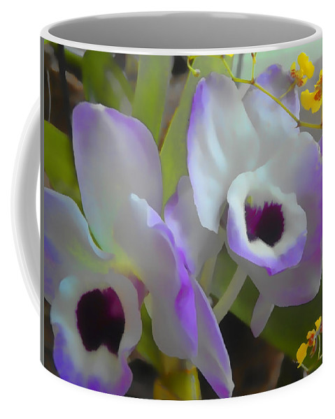 Orchids Coffee Mug featuring the digital art Soft Majesty by Lyriel Lyra