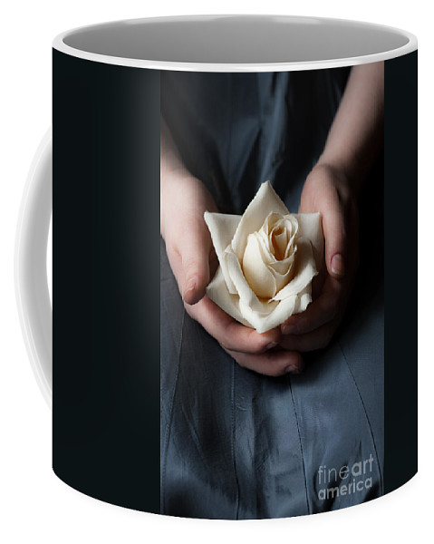Female; Woman; Lady; Caucasian; Vintage; Lace; Blue; Dark; Shadows; Lap; Sitting; Chair; Hands; Flower; Rose; Yellow; White; Hands; Beautiful; Indoors; Inside; In Thought; Mourning; Soft; Feminine; Blossom Coffee Mug featuring the photograph Soft Touch by Margie Hurwich