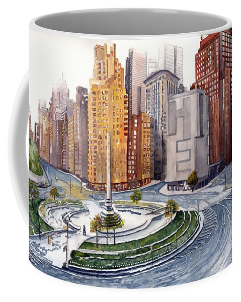 Watercolor Coffee Mug featuring the painting Solitary Nyc by Gerald Carpenter