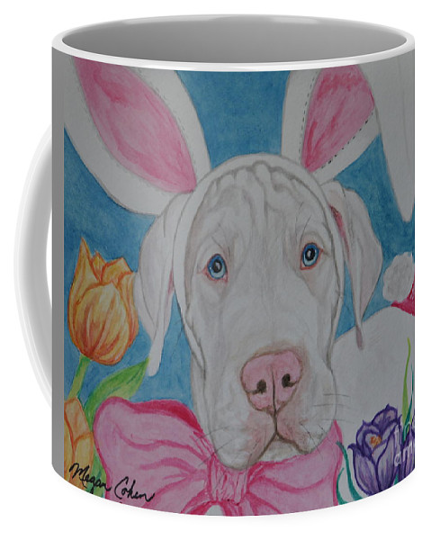 Dog Coffee Mug featuring the painting Some Bunny Says Spring Has Sprung by Megan Cohen