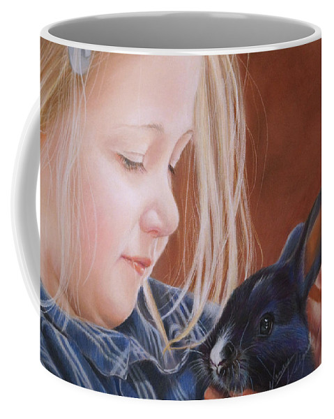 Bunny Coffee Mug featuring the painting Some Bunny To Love by Nancy Delgado