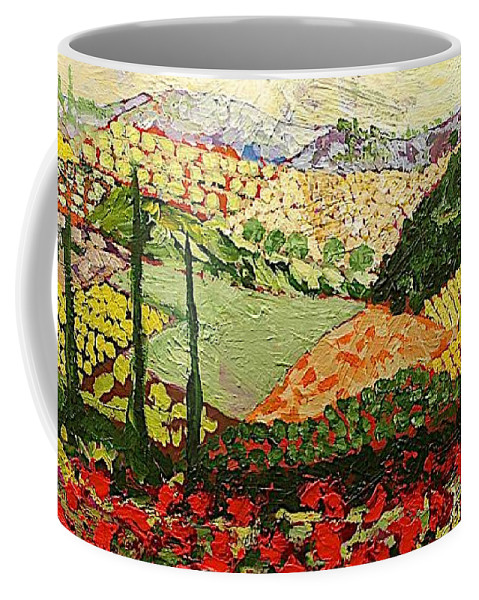 Landscape Coffee Mug featuring the painting Something Red by Allan P Friedlander