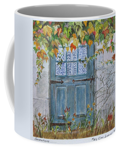 Autumn Leaves Coffee Mug featuring the painting Somewhere by Mary Ellen Mueller Legault