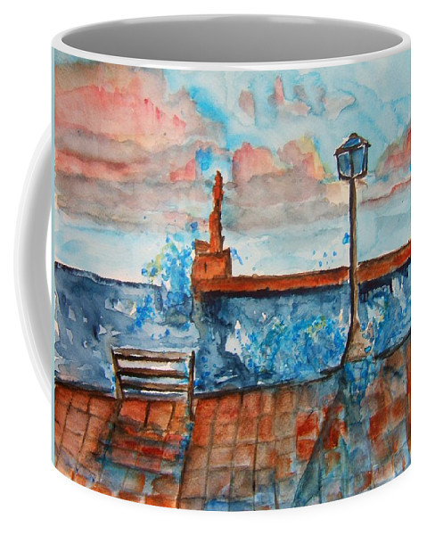 Greece Coffee Mug featuring the painting Somplace In Greece by Elaine Duras