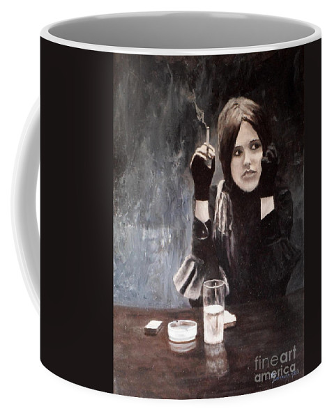 Grisaille Coffee Mug featuring the painting Sonja In Grisaille by Michael John Cavanagh