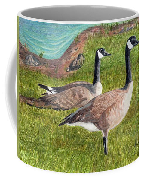 Canadian Geese Coffee Mug featuring the painting Soon To Be Parents by Gail Seufferlein