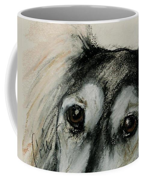 Saluki Coffee Mug featuring the drawing Sophia's Eyes by Cori Solomon