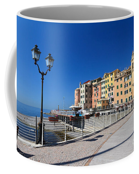 Ancient Coffee Mug featuring the photograph Sori Waterfront. Italy by Antonio Scarpi