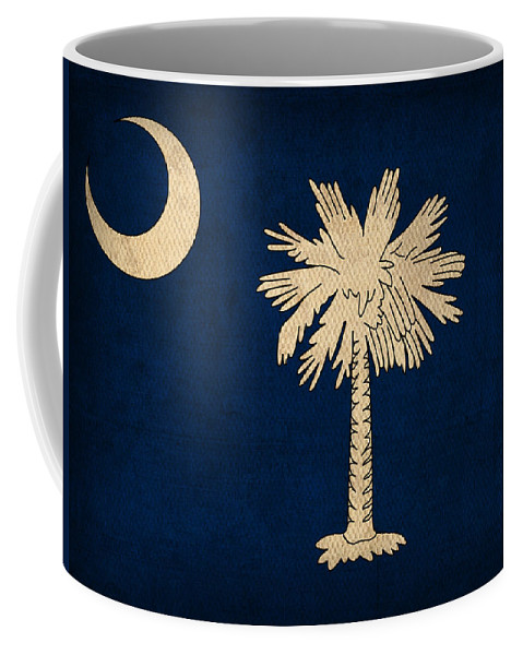 South Coffee Mug featuring the mixed media South Carolina State Flag Art On Worn Canvas by Design Turnpike