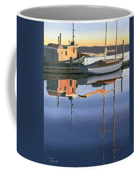 Boat Coffee Mug featuring the painting South Harbour Reflections by Gary Giacomelli