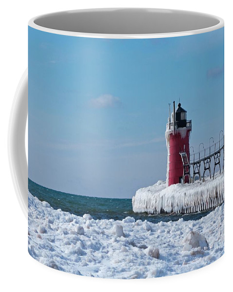 Lighthouse Coffee Mug featuring the photograph South Haven Ice by Ann Horn