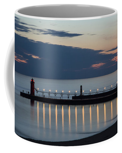 3scape Photos Coffee Mug featuring the photograph South Haven Michigan Lighthouse by Adam Romanowicz